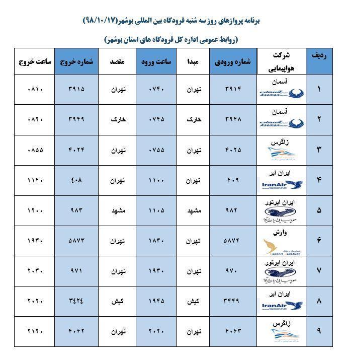 جدول پرواز های فرودگاه بوشهر در 17 دی 98