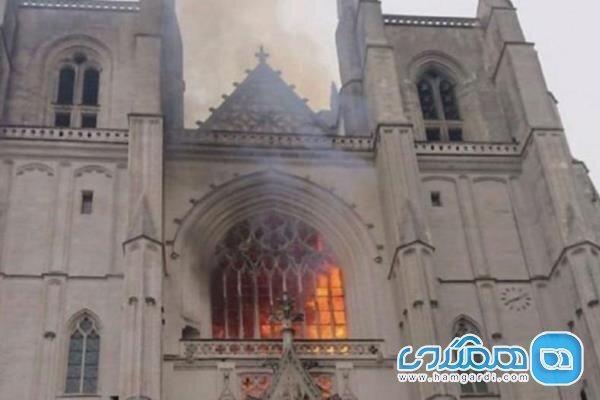 آتش سوزی در کلیسای 500 ساله شهر نانت