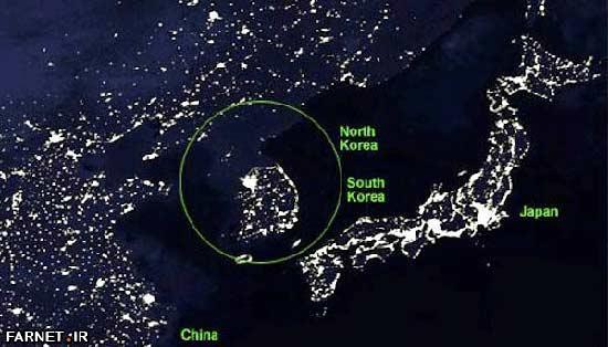 تفاوت جالب کره شمالی و کره جنوبی از فضا!